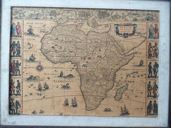 Gravura Decorativa De Mapa Antigo Africa Quadro