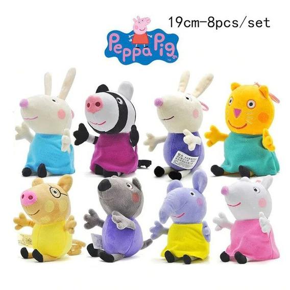 Família Peppa Pig E Amigos Com 8 Pelúcias Frete Grátis!