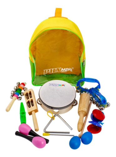 Imagem 1 de 5 de Kit Percussao Infantil Completo 10 Instrumentos C/ Mochila