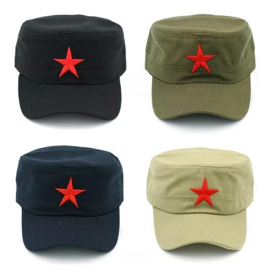 Boné Militar Estrela Socialista Estilo Fidel Castro + Broche