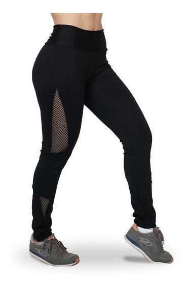 Calça Legging Lisa Com Recortes Em Tela