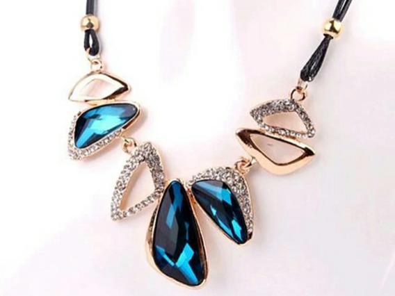 Maxi-colar Cristal Austríaco Azul