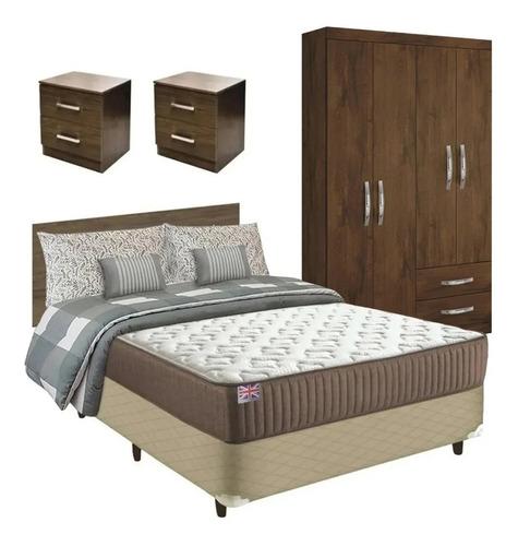 Combo Dormitorio Sommier 2p + Ropero + Respaldo + M.de Luz