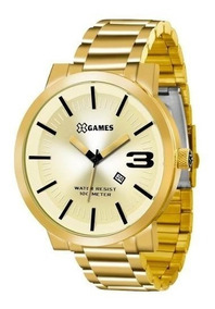 Relógio X-games Masculino Dourado Grande Xmgs1007 Original