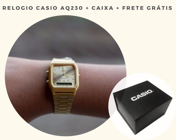Relogio Casio Dourado Aq-230 Analógico E Digital + Caixa