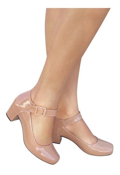Sapato Feminino Nude Boneca Salto Baixo Medio Grosso