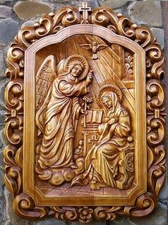 Gabriel Arcángel Y Maria De Nazareth Tallado En Madera