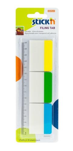Banderitas Plasticas Autoadhesivas Stickn 3 Colores 30 Hojas