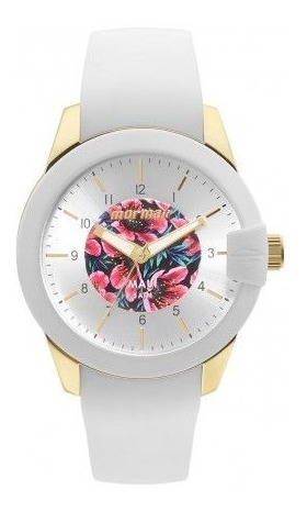 Relógio Mormaii Fem Branco E Dourado Silicone Mo2036ij 8b