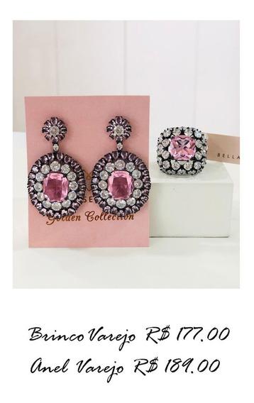Conjunto Luxo Brinco E Anel Ródio Branco Com Zircônia Rosa