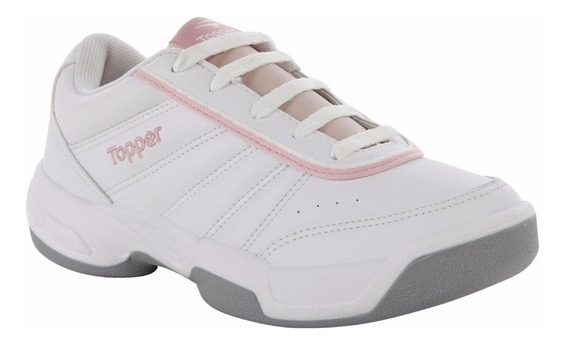 Zapatilla Colegial Blanco Rosa Topper Tie Break Kids 28322