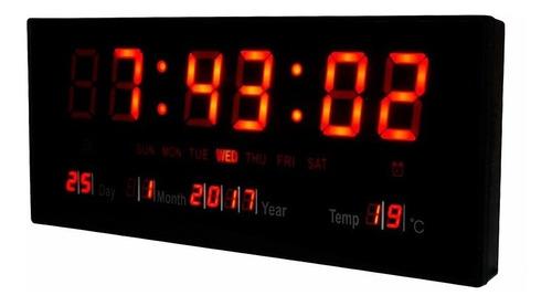 Reloj  De Pared Led Digital 36 X 15cm Temperatura Fecha