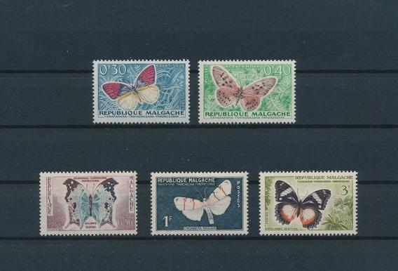Madagascar 1960 Mariposas Serie Completa Mint