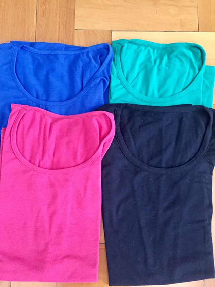 Lote X 4 Remeras Mujer Modal T Unico Varios Colores!