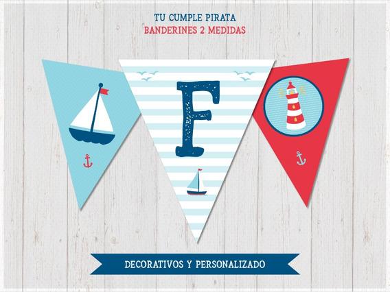 Banderín Imprimible Naútico Barco Feliz Cumple + Nombre