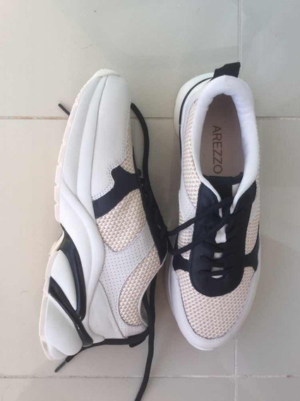 Tênis Arezzo Daddy Sneaker Off White Preto Novo Napa Palha