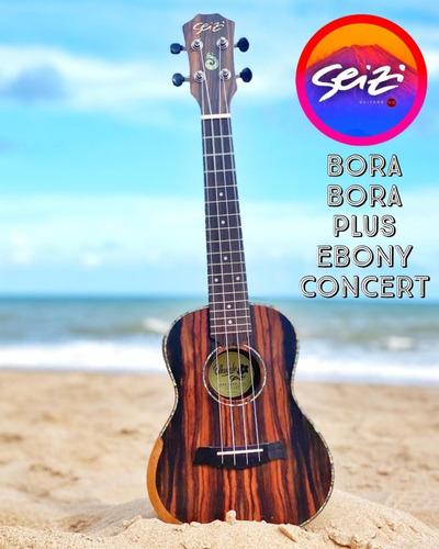 Imagem 1 de 6 de Ukulele Seizi Bora Bora Plus Concert Acústico Bag Ebony