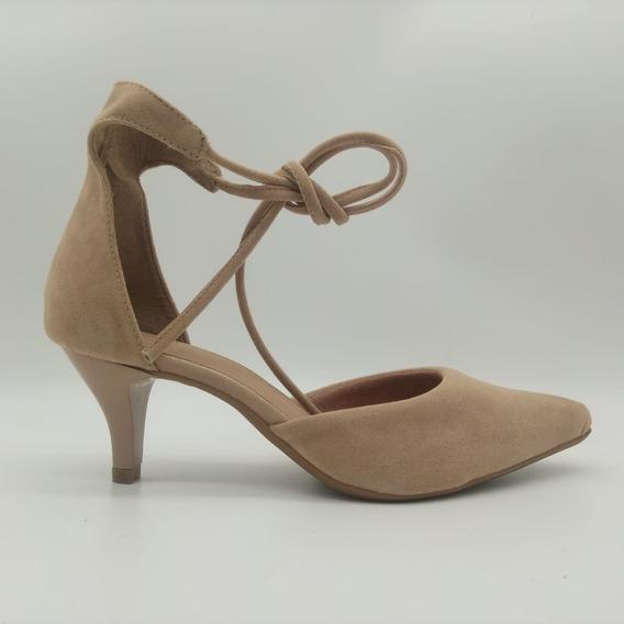 Sandália Sapatos Bico Fino Mozione Salto Fino Conforto Macio