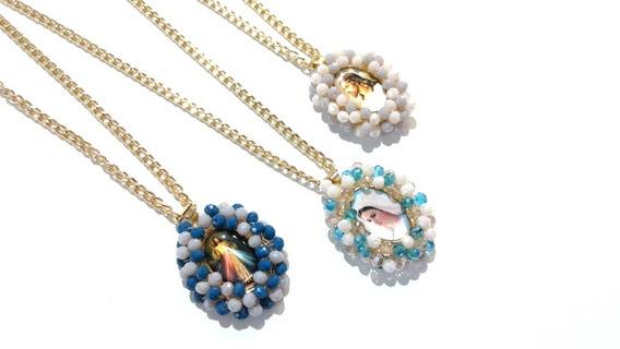 Collar Medalla Santos Religiosa Bordada Cristales Virgen Gr.