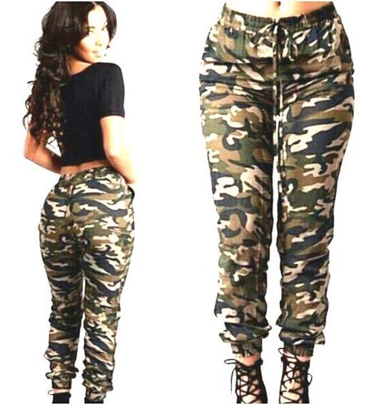 Calça Jeans Feminina Jogger Camuflada