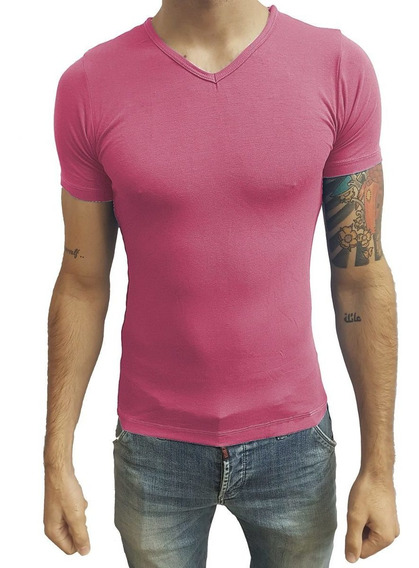 Camiseta Slim Fit Básica Gola V Viscolycra Manga Curta Sjons