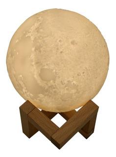 2 Em 1 3d Usb Carregável Artístico Lunar Lâmpada Umidificado