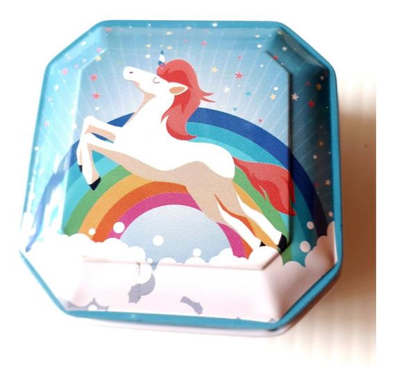 Caja Metalica Vintage Unicornio 3 Pastillero Alhajero