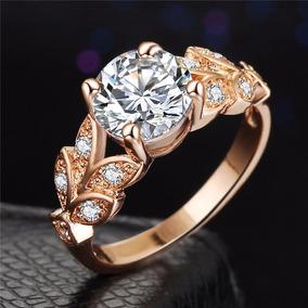 Anel Feminino De Noivado Compromisso Ouro Rose Prata