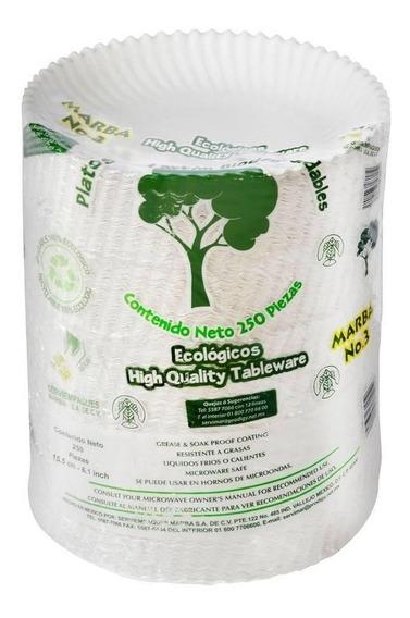 Platos De Cartón Marba Biodegradables Pasterleros De 250 Pla