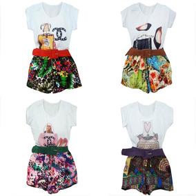 Lote 4 Conjuntos Femininos Atacado Blusa T-shirt E Short