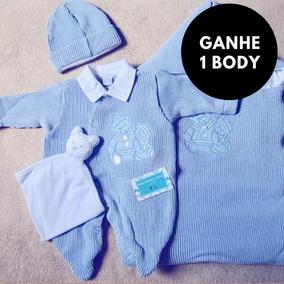 Kit Saída Maternidade Luxo Azul Menino Inverno