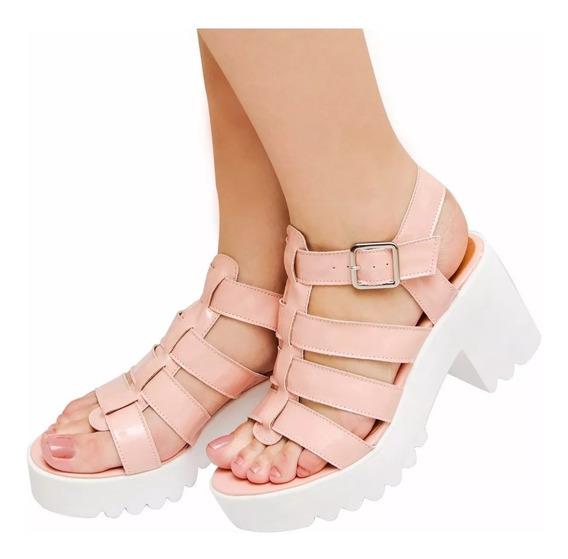 Sapatos Sandália Feminina Tratorada Salto Alto Original Jlc
