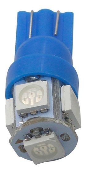 02 Lampadas Automotiva 3w Soquete T10 5 Leds Diversas Cores