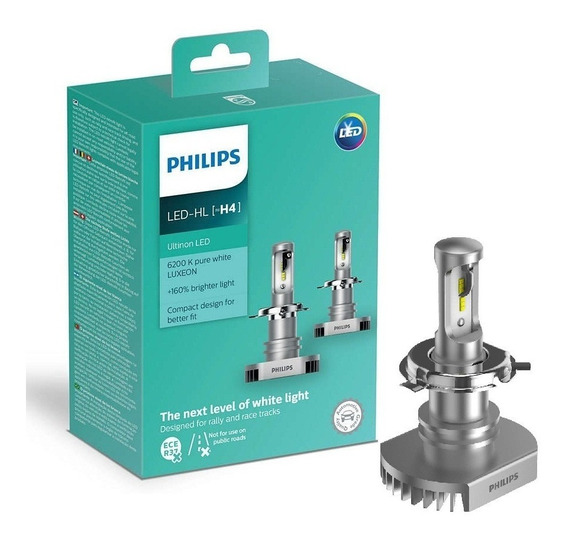 Par Lâmpada Philips Ultinon Led H4 6200k Super Branca 12v