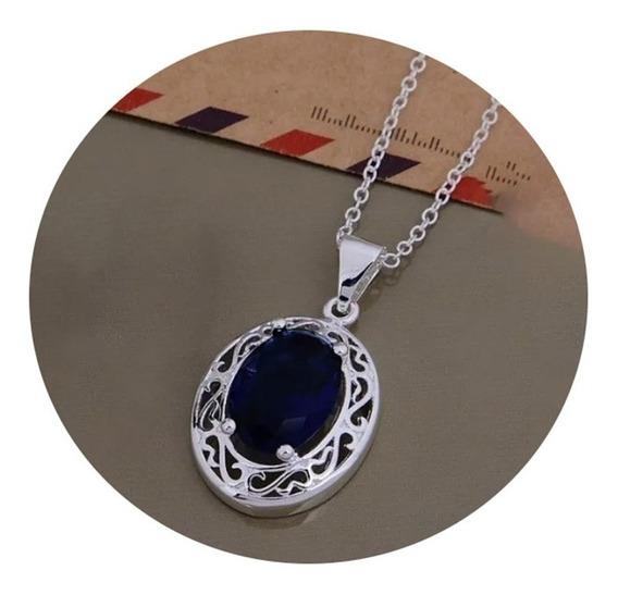 Collar De Plata Para Mujer Zafiro Azul Regalo Para Mama 2020