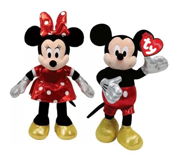 Pelúcia Minnie Mouse Com Mickey Mouse Casal Ty Beanie Babies
