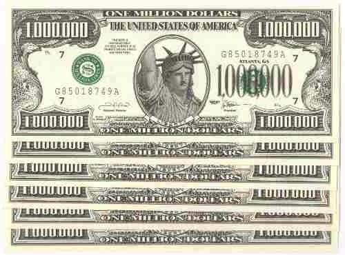 6 Notas De 1.000.000 De Dollares - Fantasia.
