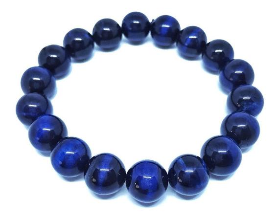 Pulseira Cristal Pedra Olho Tigre Tingido Azul 10mm 119