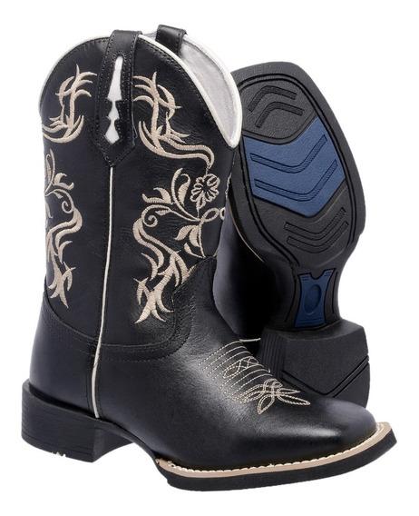 Bota Texana Bico Quadrado Cano Médio Country Feminina Couro