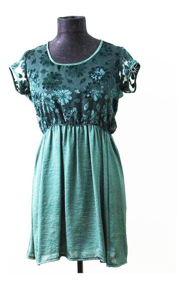 Elegante Vestido Verde Inglés Marca Basilotta - Envios