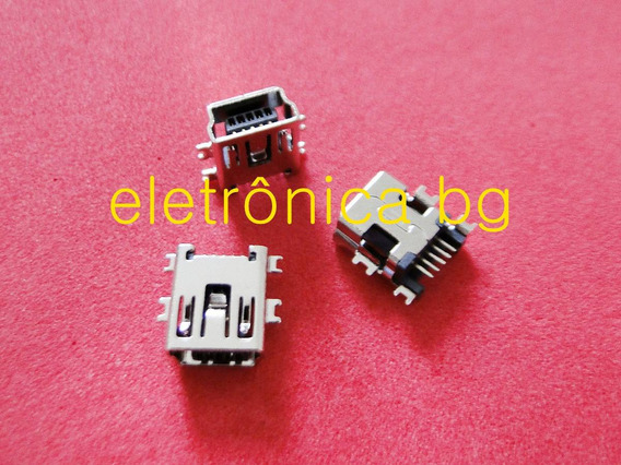 Jack Conector Plug Mini Usb 5 Pinos Tablet E Gps Kit Com 5