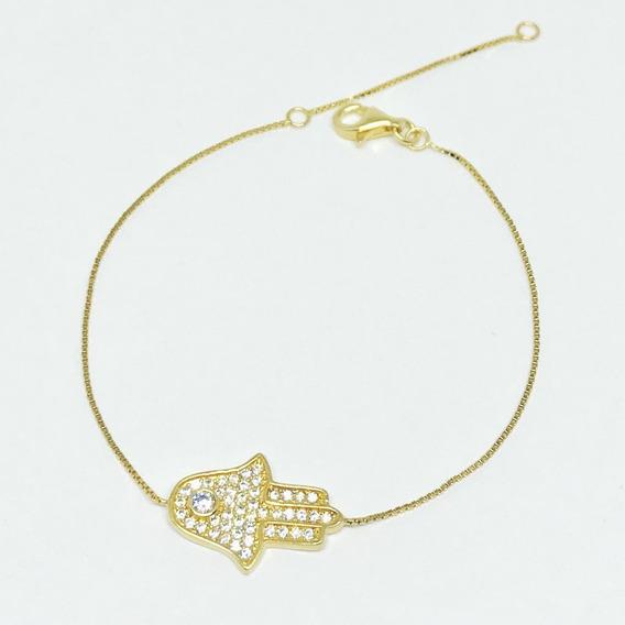 Pulseira Prata 925 Dourada Hamsa Com Veneziana