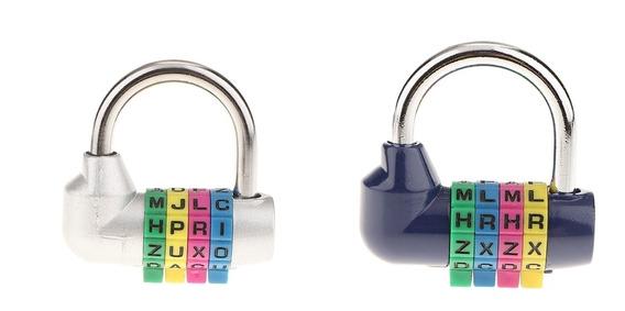 2pcs 4 Letras Combinação Bloqueios Senha Segurança Cadeados