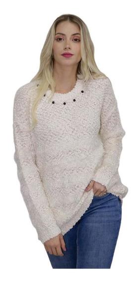 Blusa Frio Feminina Branca Pelinho Felpuda Inverno Loverly