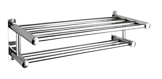 Porta Toalha Duplo 60cm Em Turbo De Aço Inox 304