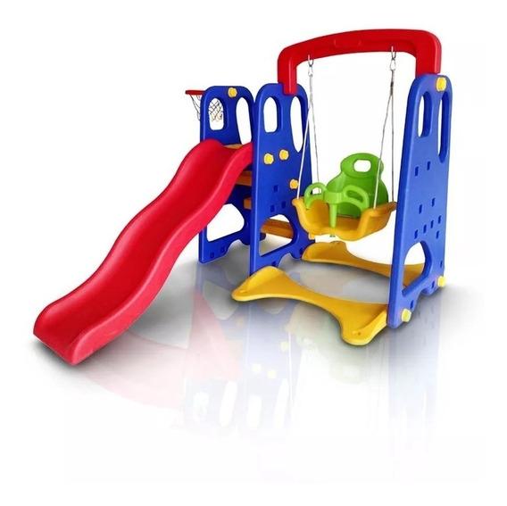Playground Infantil 3x1 Cesta Basquete Balanço Escorregador
