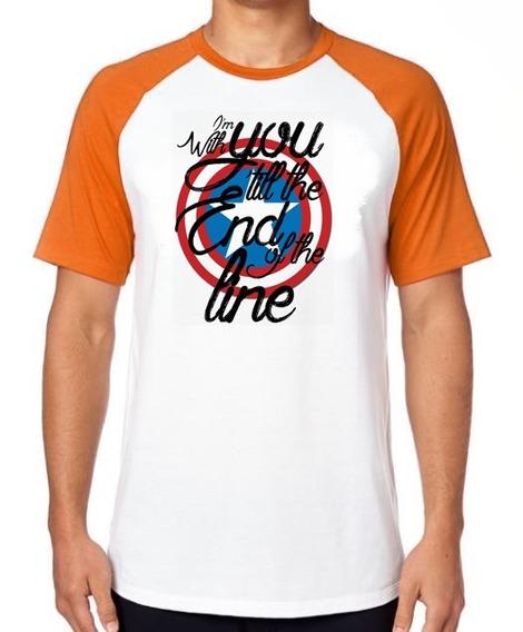 Camiseta Luxo Capitão América Escudo End Line Vingadores