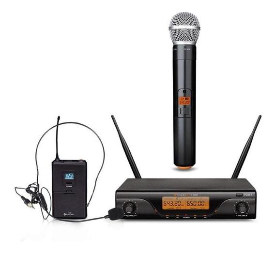 Microfone De Mão + Headset Kadosh Sem Fio Uhf - K412c