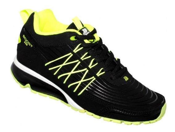 Tenis Para Correr Valvula Mujer Simipiel Amarillo Neon Marca