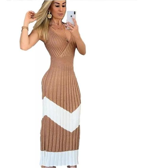 Vestido Longo Feminino Tricot Tricô Sereia Moda Blogueiras